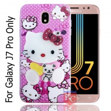 KC Mirror Kitten with Baby Bear Diamonds Studs Back Cover for Samsung Galaxy J7 Pro - Pink